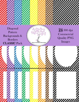 Diagonal Striped Pattern Backgrounds and Borders CLASSIC Pack