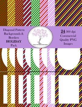 Diagonal Striped Pattern Backgrounds and Borders HOLIDAY Pack