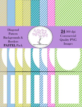 Diagonal Striped Pattern Backgrounds and Borders PASTEL Pack