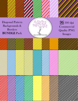 Diagonal Striped Pattern Backgrounds and Borders BUNDLE Pack