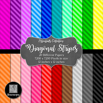 12x12 Digital Paper - Essentials: Diagonal Stripes