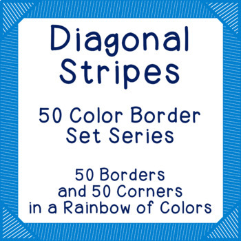 Diagonal Stripes - 50 Color Border Set Series Bulletin Board Corners