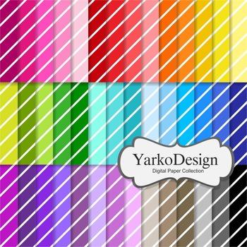 Diagonal Stripes Digital Scrapbooking Paper Set, 42 Digital Papers