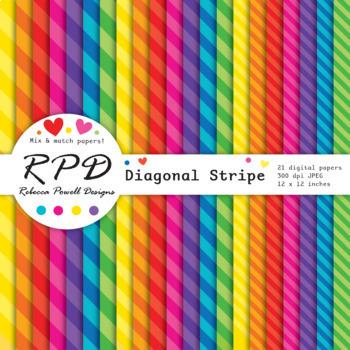 Diagonal candy stripes bright rainbow colours digital paper set/ backgrounds