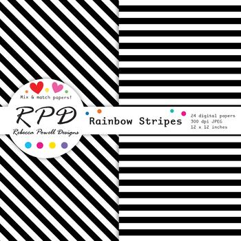 Diagonal candy stripes rainbow colours & white digital paper set/ backgrounds