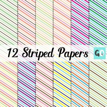 Diagonally Striped Clip Art Papers, Orange Green Blue Purple
