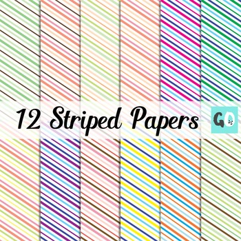 Diagonally Striped Clip Art Papers, Orange Green Blue Purple