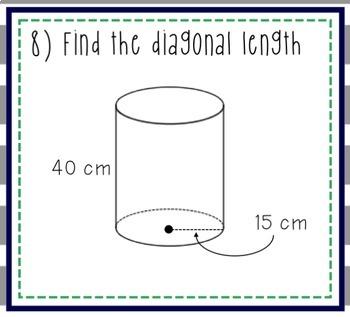 Diagonals of Prisms & Cylinders Task Cards