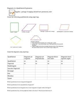 Diagonals of a Quadrilateral Exploration using Angleg Mini