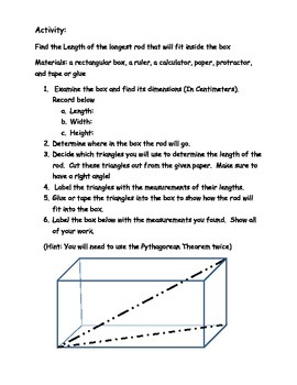 Diagram of the Pythagorean Theorem in 3D