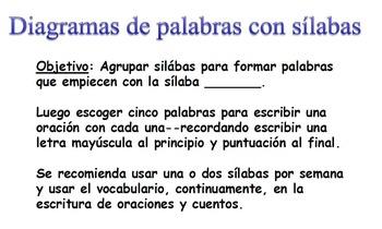 Spanish Syllable Diagrams/Diagramas de palabras con sílabas Bb-Zz