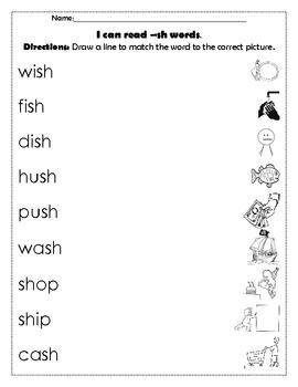Digraph Sh Word Work