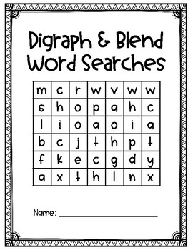 Diagraph, Triagraph and Blend Word Searches
