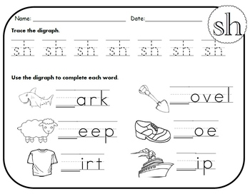 sh digraph worksheets by kindergarten swag teachers pay teachers. Black Bedroom Furniture Sets. Home Design Ideas