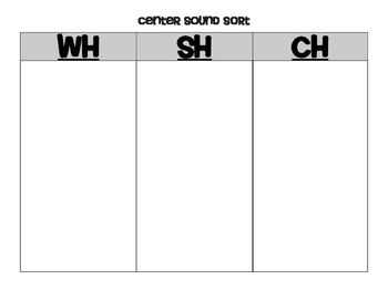 Digraphs Center for sorting SH, CH, TH, and WH picture cards
