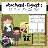 Digraphs: EA, EE, AI, AY, OA, OW {Centers, Mats, Word Card