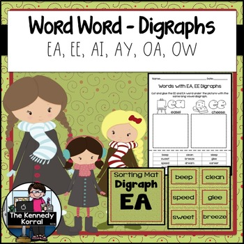 Word Work: Long A, E, and O Vowel Teams - EA, EE, AI, AY, OA, OW (Digraphs)