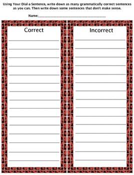 Dial A Sentence Subject Pronoun Activity