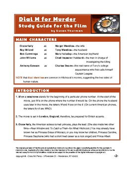 Dial M for Murder: Study Guide for Alfred Hitchcock's Film (13 p., An. Key, $13)