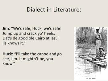 Dialect in Literature-- A Fun Activity!