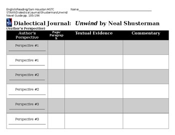 Dialectical Journal (Author's Perspective) for Unwind by Neal Shusterman