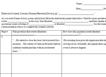 Dialectical Journal (any story)