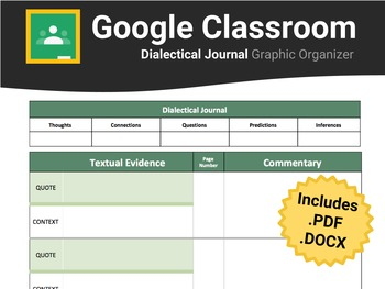 Dialectical Journal For Google Classroom