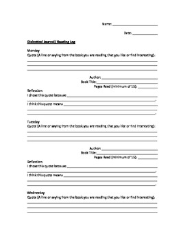Dialectical Journal Reading Log
