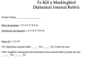 Dialectical Journal Rubric, To Kill a Mockingbird