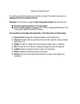 Dialectical Journal for Speak and Rubric