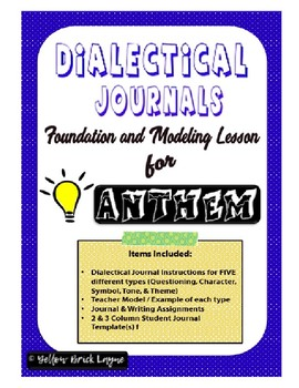 Dialectical Journals:  Foundation and Modeling Lessons for Anthem