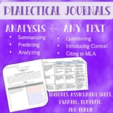 Dialectical Journals for Literary Analysis and Non-fiction analysis (w/rubric)