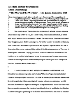 "Dialectical notebook ""The War and the Workers""-- The Junius Pamphlet"