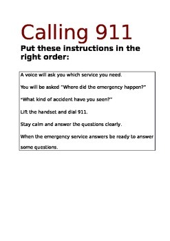 Dialling 911 - ordering the instructions