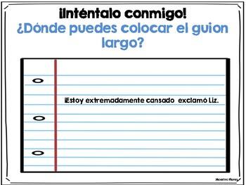 Diálogo/guion largo/raya/Dialogue in Spanish