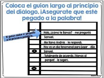 Diálogo/guion largo/raya/Dialogue in Spanish