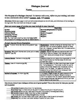 Dialogue Journal Book Project : (Can be used with any book)