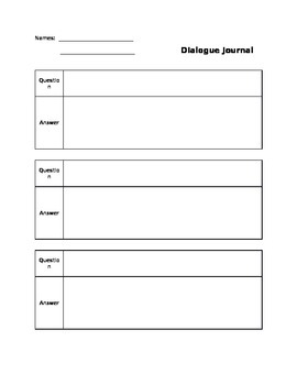 Dialogue Journal Graphic Organizer