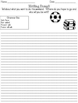 Dialogue Journal Writing Prompts with Grammar Skill Builders