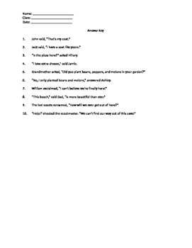 Dialogue Practice and Rules for Using Quotation Marks (Reference and Worksheet)