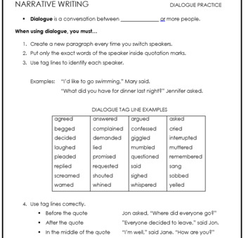 Dialogue Practice for Narrative Writing