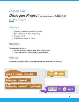 Computer Coding with Scratch 3.0 Coding Lesson Plan 2  - Dialogue Project