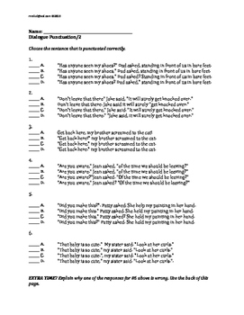 Dialogue Punctuation Multiple Choice Items: Grade 4, Grade 5, Grade 6
