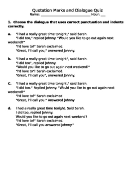 Dialogue & Quotation Marks Quiz