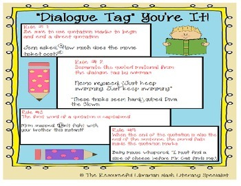 """Dialogue Tag"" You're It- Teaching Quotations and Dialogue in writing Unit"