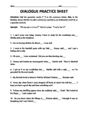 Dialogue Tags and End Punctuation Practice Worksheet