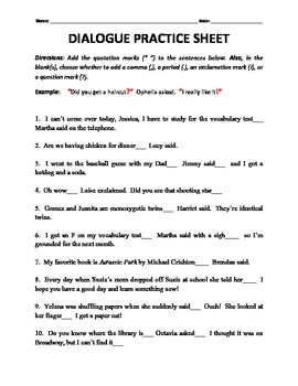 dialogue tags and end punctuation practice worksheet by h shah teaches. Black Bedroom Furniture Sets. Home Design Ideas