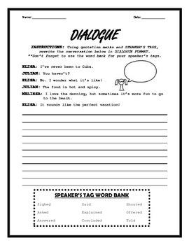 Dialogue Worksheet