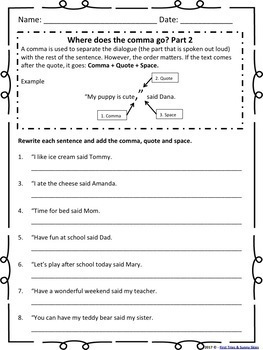 Dialogue Worksheet Bundle {Just Print & Go!} Common Core Aligned