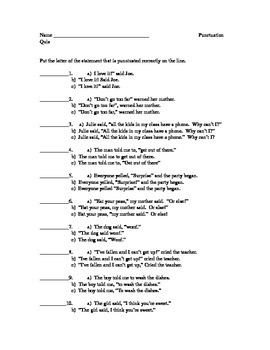 Dialogue and Punctuation Quiz
